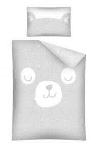 DETEXPOL Bambusové povlečení do postýlky Medvídek - šedý