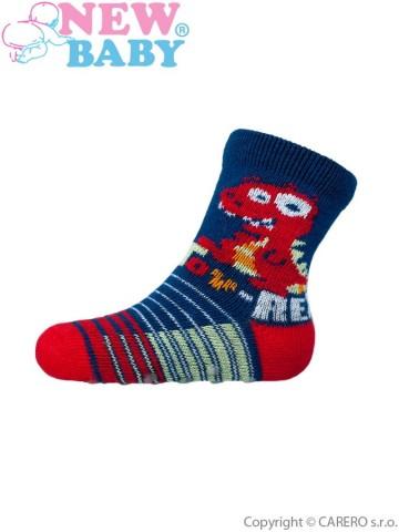 Kojenecké ponožky New Baby s ABS tmavě modré toy rex