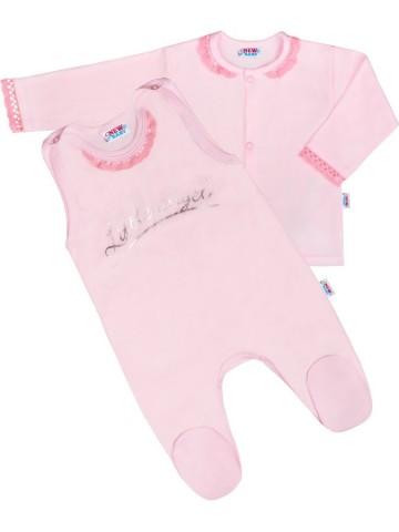 2-dielná bavlnená súprava New Baby Angel ružová