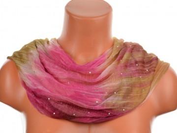 Dámský batikovaný tunelový šátek s kamínky - růžovohnědý
