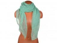 Letní šátek s motivem květů, 170x75cm - zelený