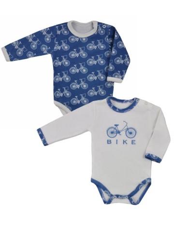 Dojčenské body s dlhým rukávom Koala BIKE 2 ks v balení modro-bielé