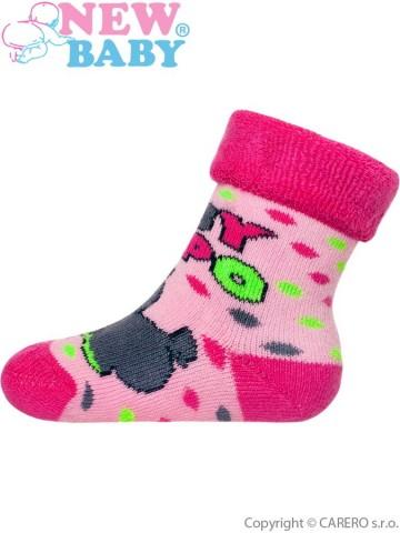 Dětské froté ponožky New Baby růžové s hrochem