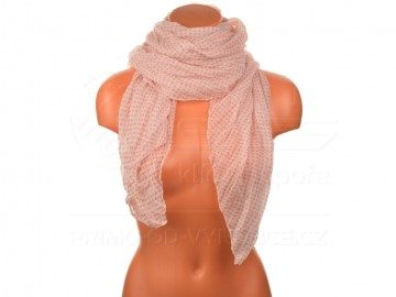 Letní šátek s motivem kvítků, 170x75cm - světle růžový