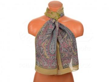 Letní šátek s motivem orientálních květin, 165x50cm - hnědozelený