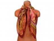 Velký šátek s motivem exotických květů, 90x90 cm - vínový