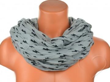 Dámský tunelový šátek s blesky - šedý