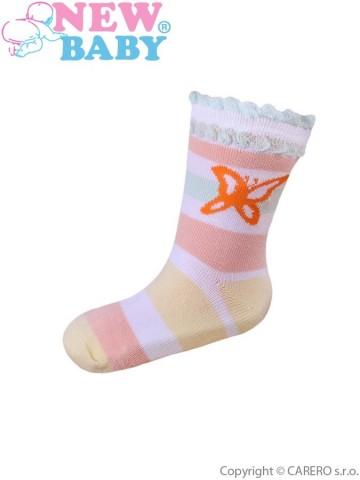 Dojčenské bavlnené ponožky New Baby s pruhmi a motýľom
