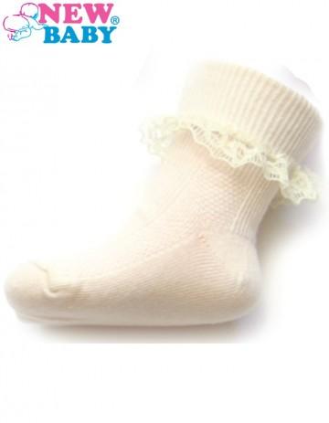 Dojčenské bavlnené ponožky s čipkovaným volánikom New Baby bežové