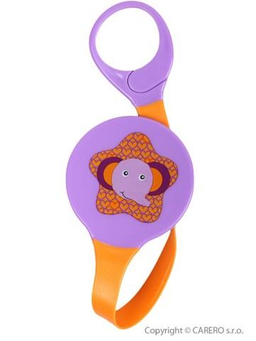 Klip na dudlík Akuku fialový se slonem