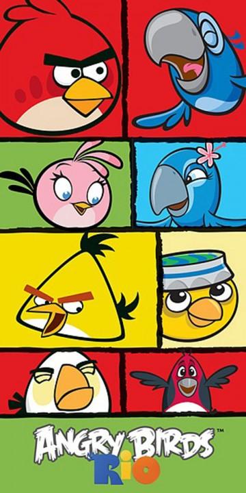 Osuška Angry Birds Rio kostky 70/140