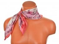 Malý šátek s motivem květinové zahrady, 55x55cm - růžový
