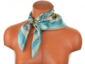Malý šátek s královskou bordurou, 55x55cm - světle modrý