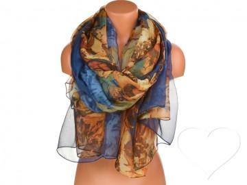 Dámský šátek s květinami - tmavě modrý