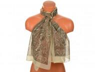 Letní šátek s motivem orientálních květin, 165x50cm - krémový