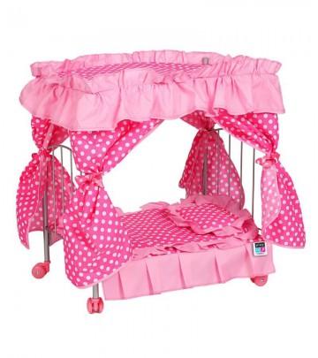 Postýlka s nebesy pro panenky PlayTo Amálka světle růžová