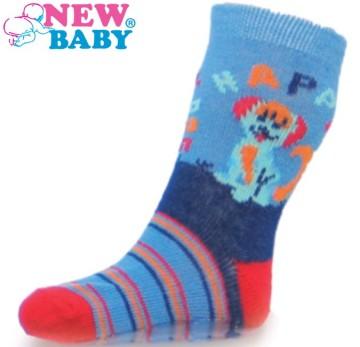 Dětské ponožky New Baby s ABS modré happy dog