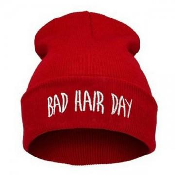 BAD HAIR DAY - Červená + bílý nápis