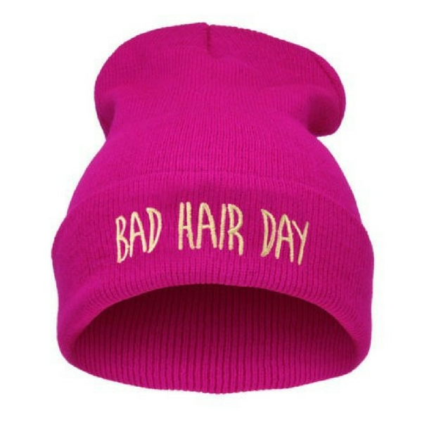 BAD HAIR DAY - Svítivě růžová + žlutý nápis