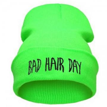 BAD HAIR DAY - Svítivě zelená + černý nápis