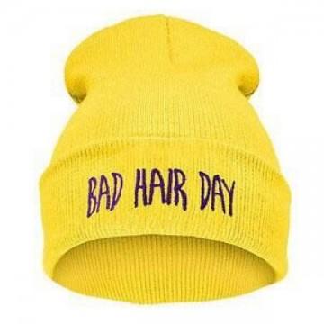 BAD HAIR DAY - Žlutá + fialový nápis