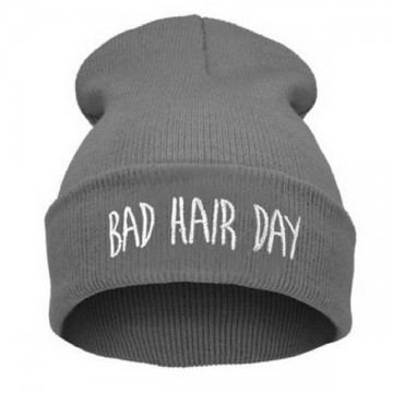 BAD HAIR DAY - Šedá + bílý nápis