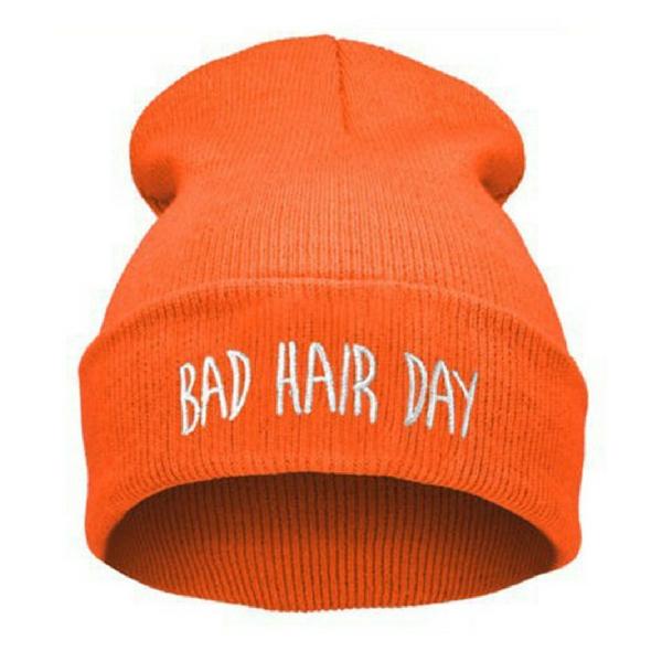 BAD HAIR DAY - Svítivě oranžová + bílý nápis