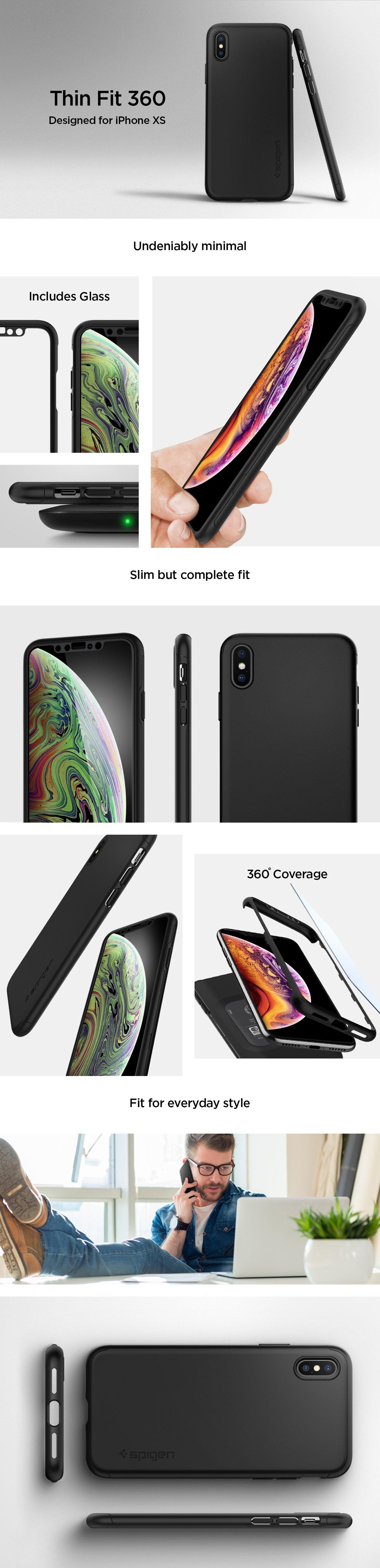 Obal / kryt / pouzdro Spigen Thin Fit 360 s ochranným tvrzeným sklem na Apple iPhone XS a iPhone X