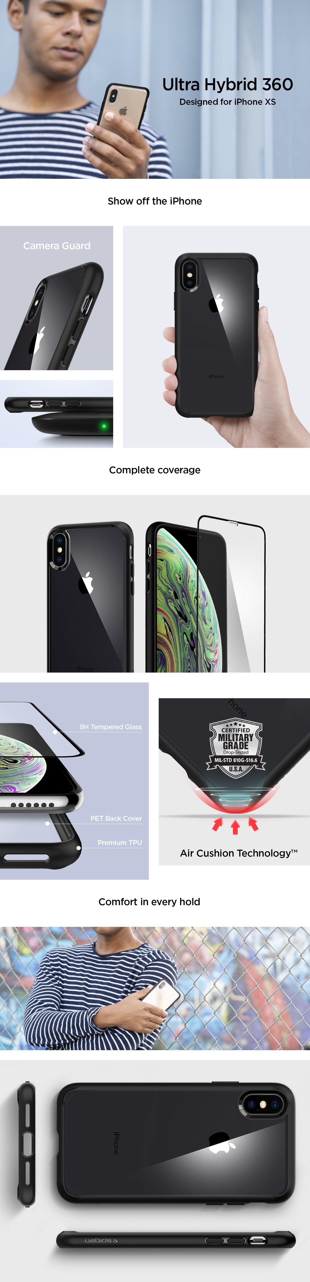 Vlastnosti obalu, krytu a pouzdra Spigen Ultra Hybrid 360 pro Apple iPhone XS/X.