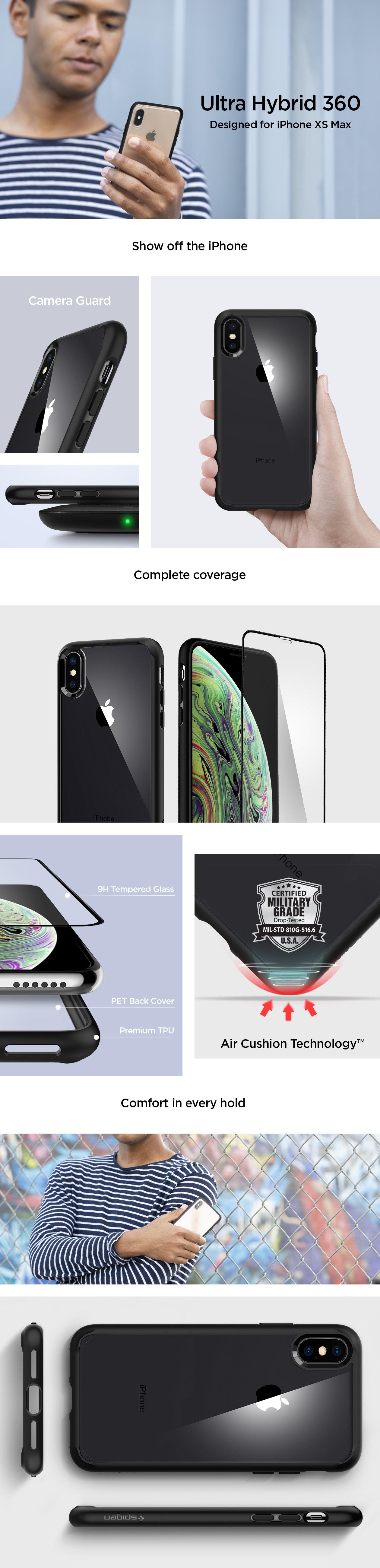Vlastnosti obalu, krytu a pouzdra Spigen Ultra Hybrid 360 pro Apple iPhone XS MAX.
