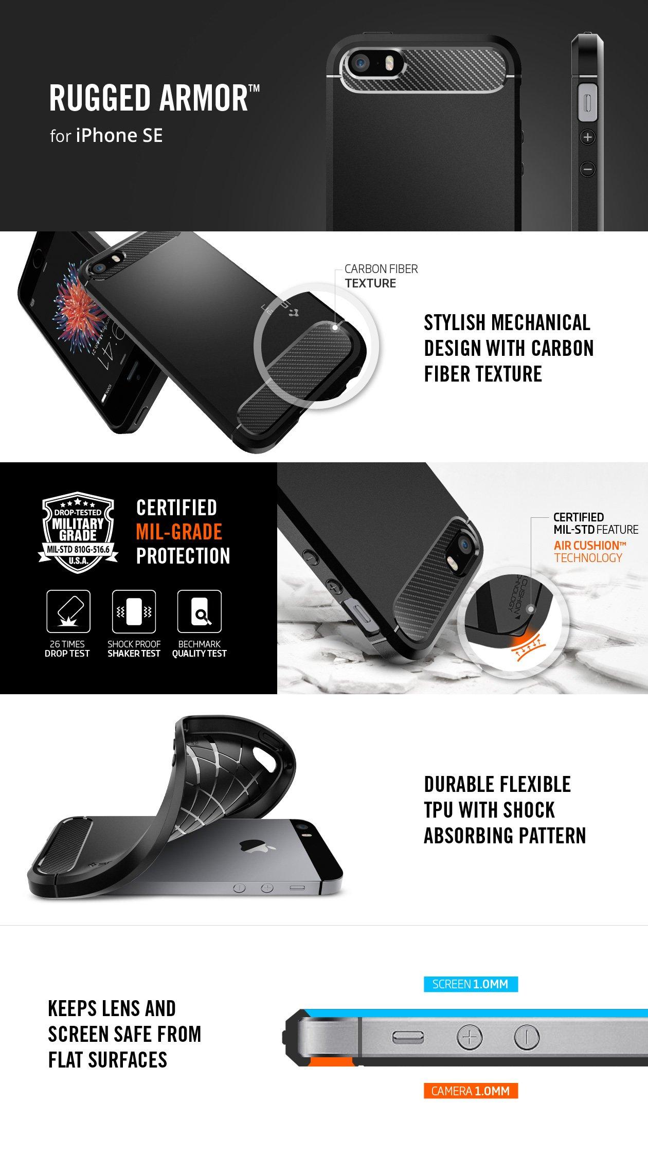 Vlastnosti obalu, krytu a pouzdra Spigen Rugged Armor na pro iPhone 5s, 5, SE.