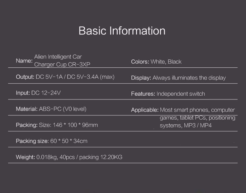 REMAX rozbočovač / rozdvojka nabíječky do auta 2x výstup + 3x USB 3,4A CR-3XP