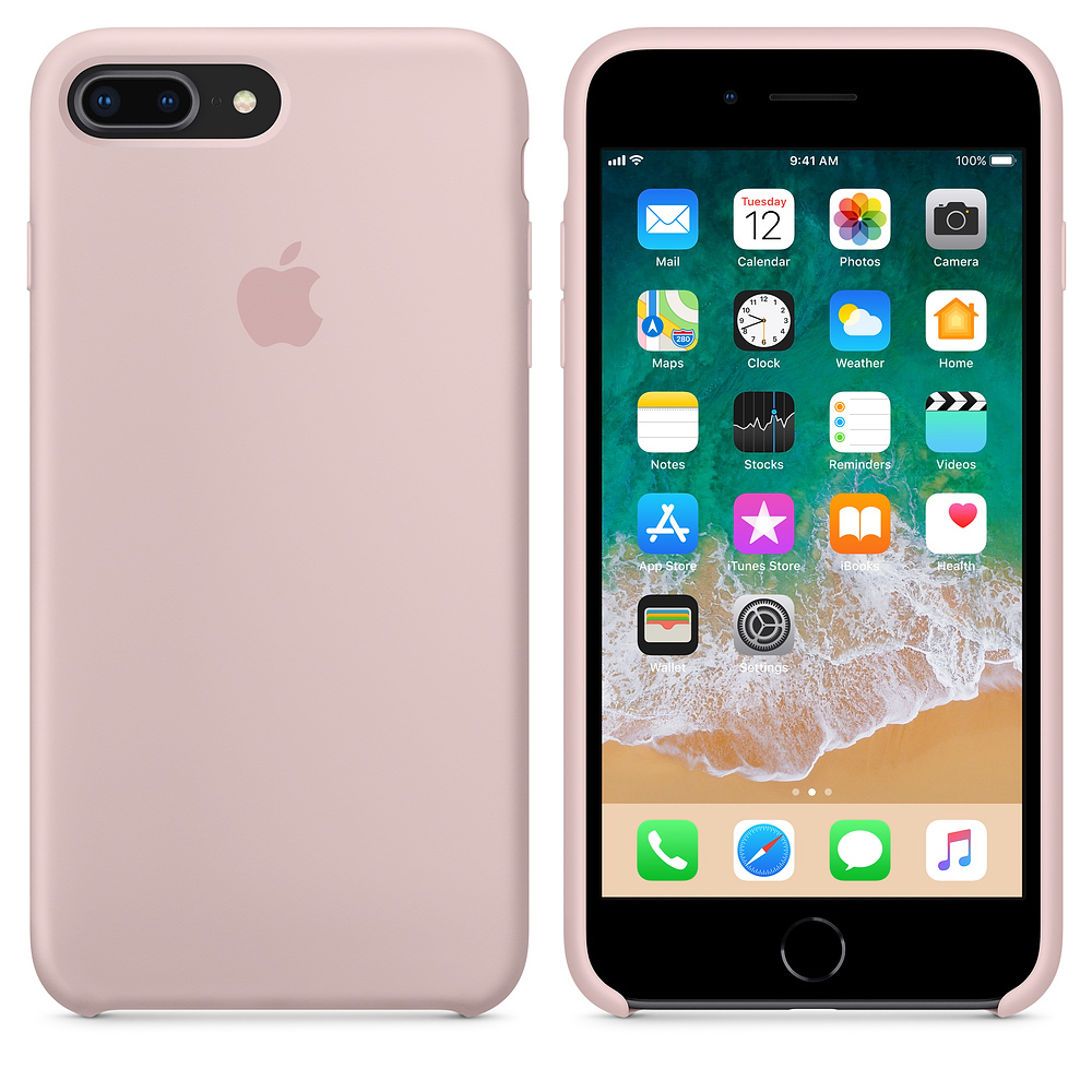 Originální silikonový kryt Apple na iPhone 8 Plus / 7 Plus - Pískově růžový