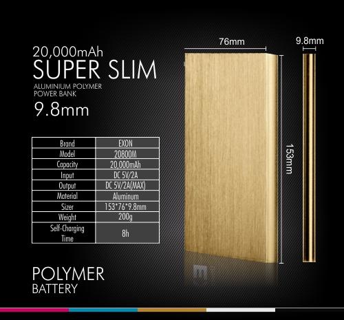 Externí baterie POWER BANK 20 000mAh, 2x USB, LED