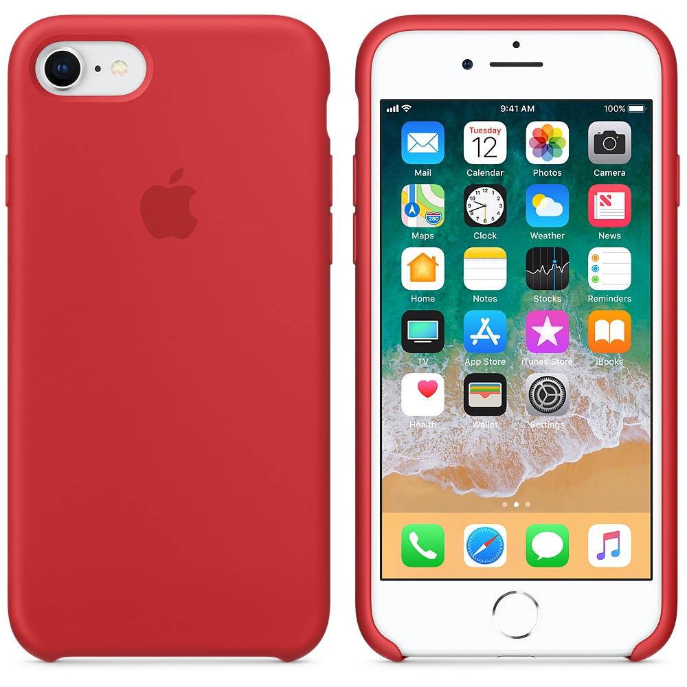 Originální silikonový kryt Apple iPhone 8 / 7 - Červený