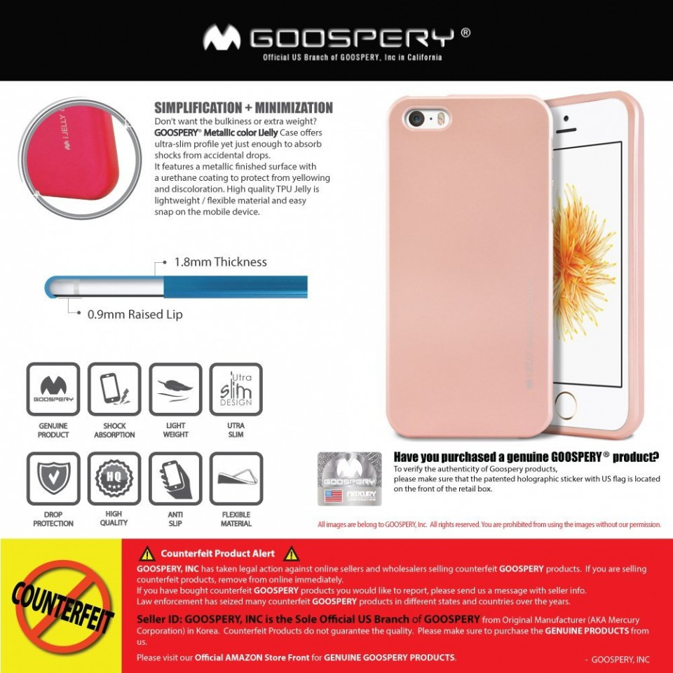 Silikonový obal / kryt iJelly Metal Goospery Mercury Apple iPhone SE / 5s / 5