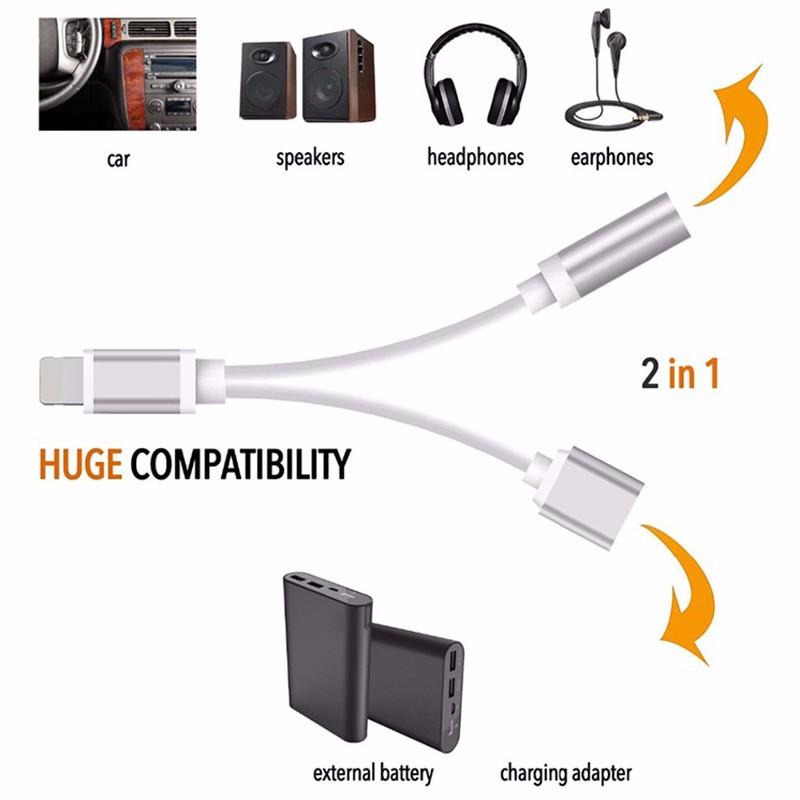 Lightning adaptér / rozdvojka Sago 2v1: 1x Lightning M/ 1x Lightning F + 1x 3,5mm jack