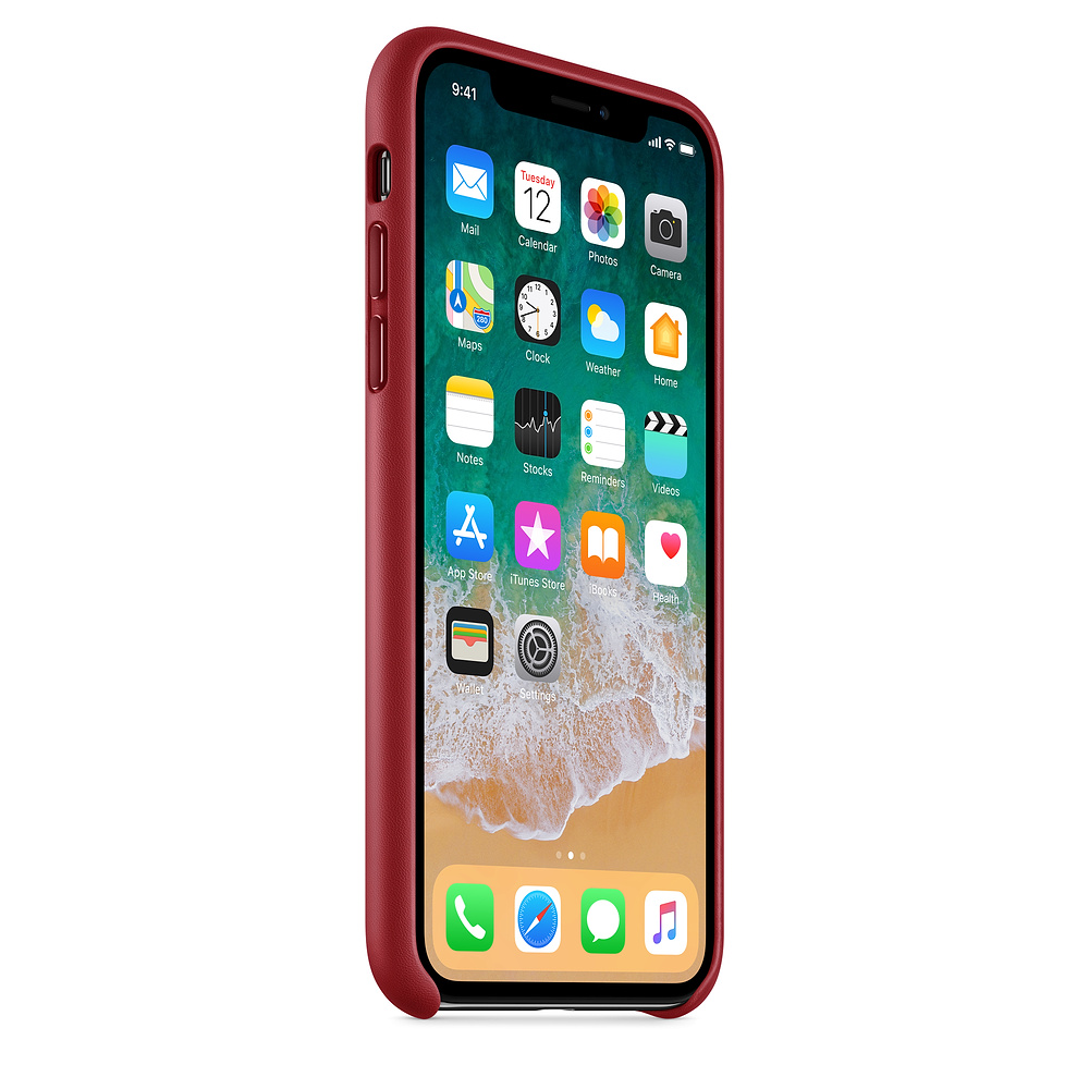 Kožený kryt Apple Leather Case na iPhone X - Červený