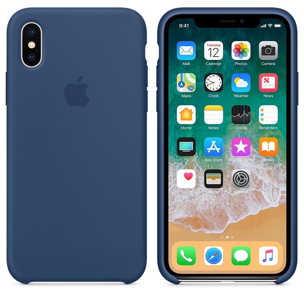 Originální silikonový kryt Apple iPhone X - Kobaltově modrý