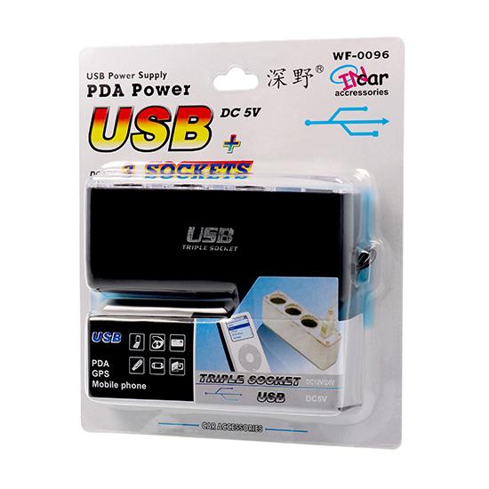 Roztrojka zapalovače InCar WF-0096 12V / 24V s USB do auta