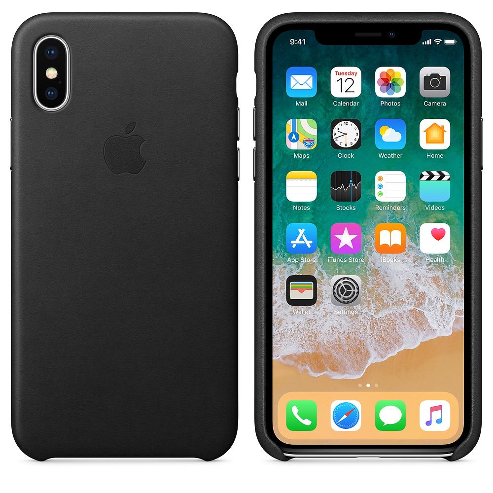 Kožený kryt Apple Leather Case na iPhone X - Černý