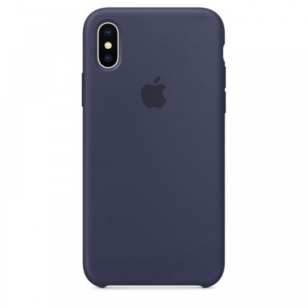 Originální silikonový kryt Apple iPhone X - Půlnočně modrý
