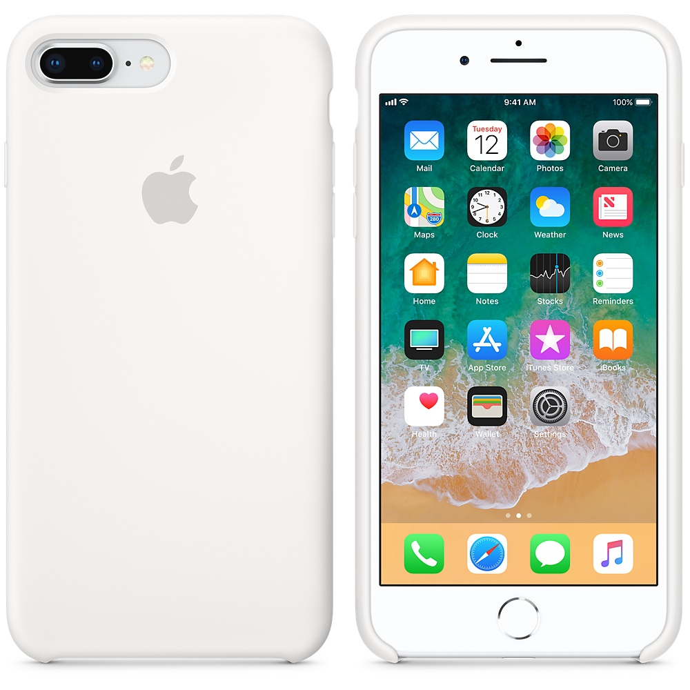Originální silikonový kryt Apple iPhone 8 Plus / 7 Plus - Bílý