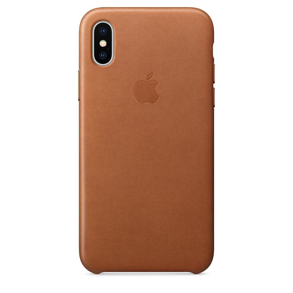 Kožený kryt Apple Leather Case na iPhone X - Sedlově hnědý