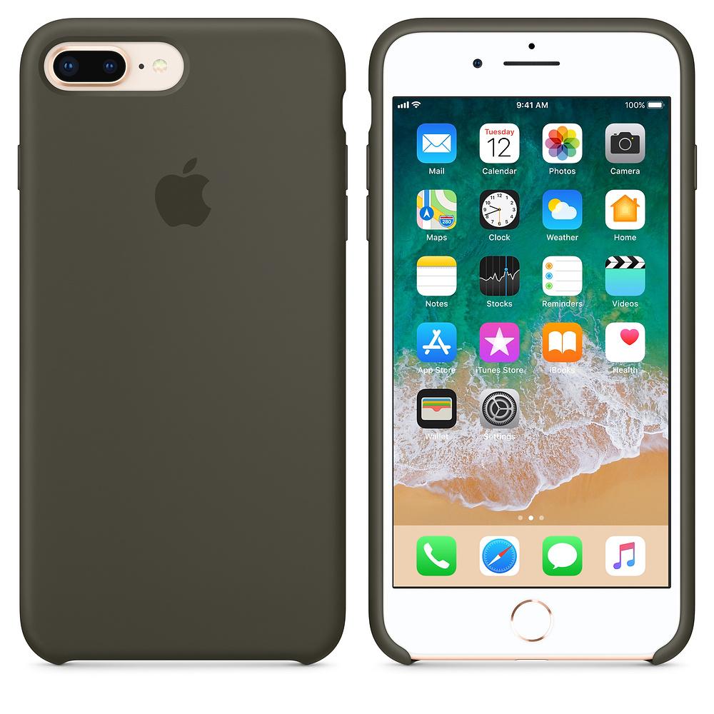 Originální silikonový kryt Apple na iPhone 8 Plus / 7 Plus - Tmavě olivový
