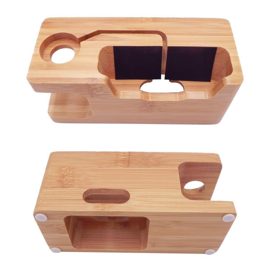 Bambusový stojánek / dokovací stanice pro iPhone a Apple Watch