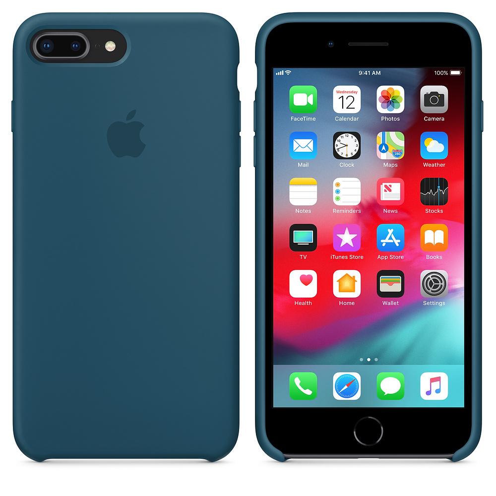 Silikonový kryt Apple na iPhone 8 Plus / 7 Plus - Vesmírně modrý