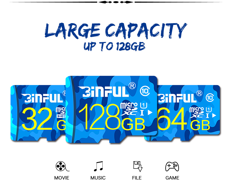 Paměťová karta BINFUL Ocean Blue MicroSDHC/XC Class 10 UHS-I + SD adaptér