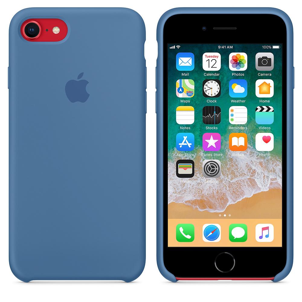 Originální silikonový kryt Apple na iPhone 8 / 7 - Džinově modrý