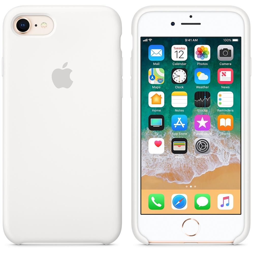 Originální silikonový kryt Apple iPhone 8 / 7 - Bílý